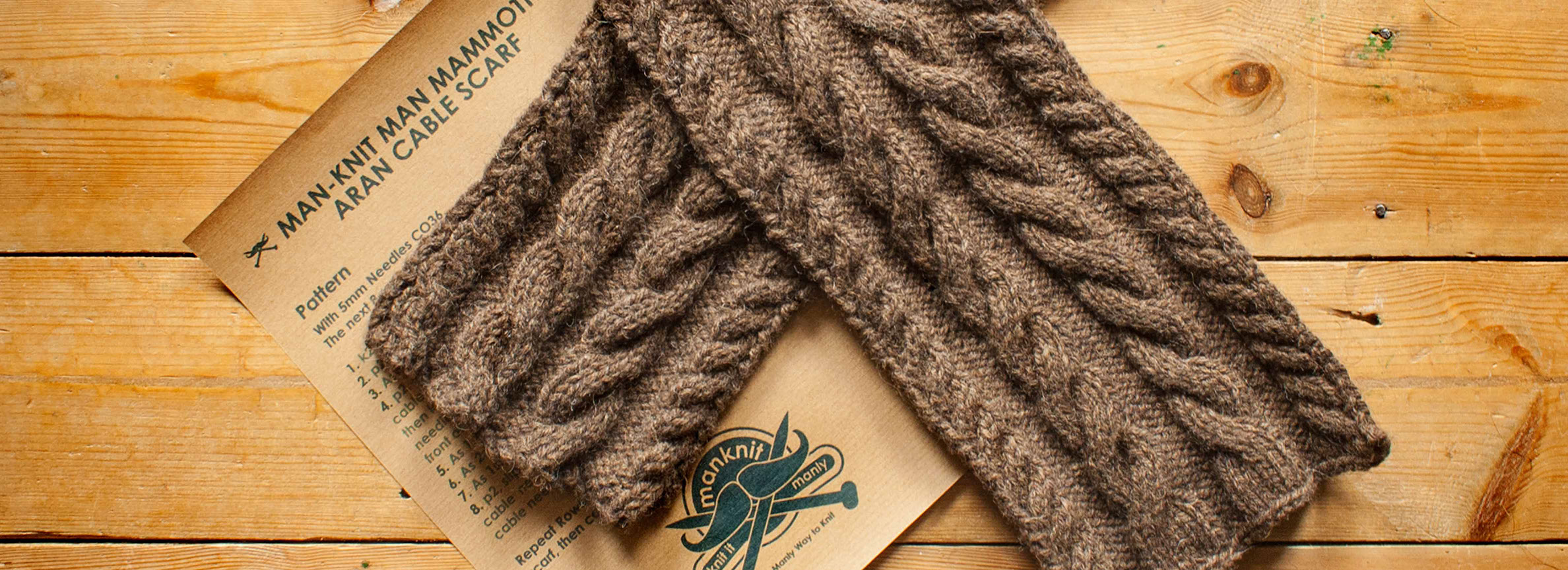 ManKnit Man Mammoth Aran Cable Scarf Knitting Pattern - Men\'s Cable ...
